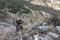 Εντυπωσιακή και επικίνδυνη επιχείρηση διάσωσης σκύλου από την Πυροσβεστική σε απόκρημνη περιοχή του Πολύρραχου – Δείτε το βίντεο