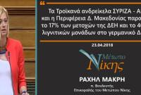 Ραχήλ Μακρή: «Τα Τροϊκανά ανδρείκελα ΣΥΡΙΖΑ – ΑΝΕΛ και η Περιφέρεια Δ. Μακεδονίας παραδίδουν το 17% των μετοχών της ΔΕΗ και το 40% των λιγνιτικών μονάδων στο γερμανικό Δημόσιο»
