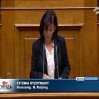 Ευγενία Ουζουνίδου: «Η κυβέρνηση μετατρέπει τα υπερχρεωμένα νοικοκυριά από ιδιοκτήτες σε ενοικιαστές στα σπίτια τους»
