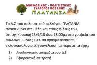 Εκλογοαπολογιστική συνέλευση του Συλλόγου Πλατάνια στην Κοζάνη
