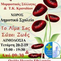 Εθελοντική αιμοδοσία και εξετάσεις στους κατοίκους των Κρανιδίων Κοζάνης