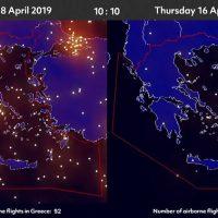 «Άδειασαν οι ουρανοί»: Απίστευτες εικόνες πριν και μετά το lockdown στον Ευρωπαϊκό εναέριο χώρο