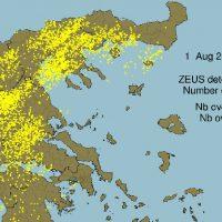 4700 κεραυνοί αλλά και σχεδόν 42 βαθμοί το Σάββατο 1 Αυγούστου στη χώρα