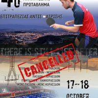 Αναβάλλεται για υγειονομικούς λόγους το Αναπτυξιακό Πρωτάθλημα Αντισφαίρισης της Κοζάνης