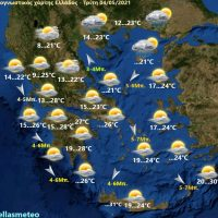 Υποχώρηση της θερμοκρασίας με αραιές νεφώσεις – Δείτε την πρόγνωση του καιρού για σήμερα Τρίτη 4 Μαΐου