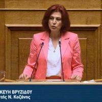 Ομιλία της Π. Βρυζίδου στο ν/σ για το έργο του Βόρειου τμήματος του Αυτοκινητόδρομου Κεντρικής Ελλάδος-Ε65 στην Ολομέλεια της Βουλής»